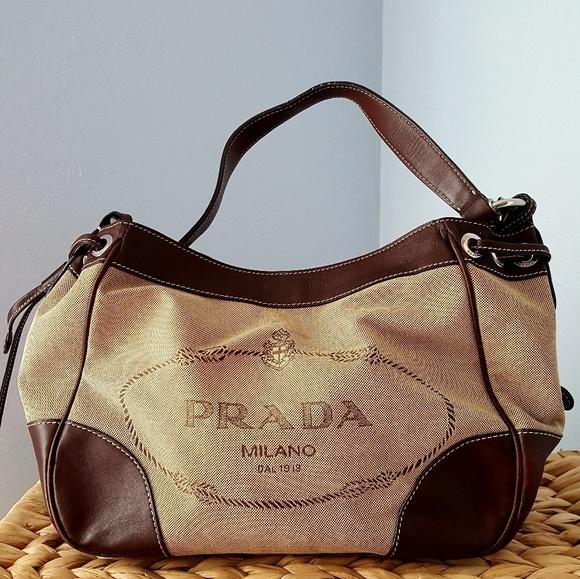 53b8a1998f0 PRADA jacquard logo bag with leather trim. M 5a6ceb6945b30c72dd4bc2ca